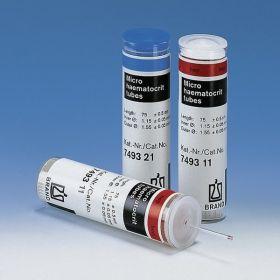 Hematocrietcapillairen met heparine  L75mm  Ø uitw.1,55 mm