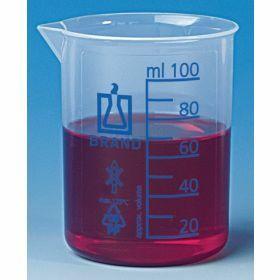 Beker lage vorm Plastibrand, PP 50 ml, blauwe graduatie