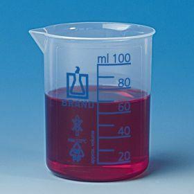 Beker lage vorm Plastibrand, PP 100 ml,blauwe graduatie
