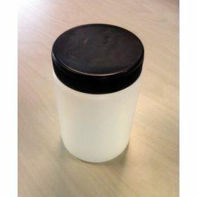 Pot rond HDPE 1000ml, inlegdop + zwarte schroefdop