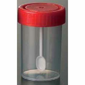 Faecespotje met lepel 60ml -  PP -  schroefstop