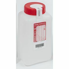 Fles 1000ml HD PE met Na-thiosulfaat 20mg/l, steriel, verzegelbaar label, leakproof schroefstop met inlage