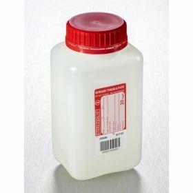 Fles 1000ml HD PE met Na-thiosulfaat 20mg/l, steriel, verzegelbare leakproof schroefstop met inlage