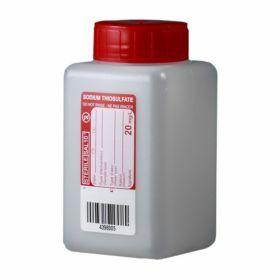 Fles 250ml HDPE met Na-thiosulfaat 20mg/l, steriel/1, leakproof schroefstop met inlage