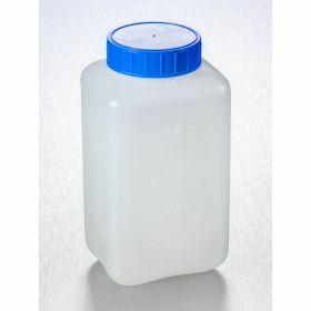 Fles vierkant HDPE 1000ml, blauwe schroefstop en indrukstop
