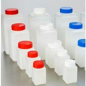 Fles vierkant HDPE 150ml, blauwe schroefstop en indrukstop