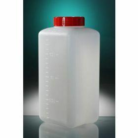 Fles vierkant HDPE 2000ml + etiket, rode schroefstop en indrukstop
