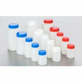 Fles vierkant HDPE 500ml, blauwe schroefstop en indrukstop