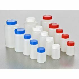 Fles rond HDPE 100ml, blauwe schroefstop en indrukstop