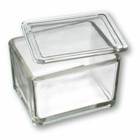 Heinz Herenz Kleurbakje met deksel in glas, H 70xL105x.B85mm