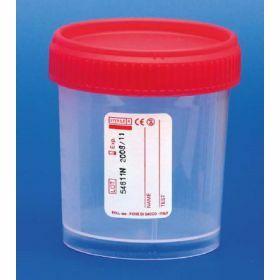 Staalpot 120ml PP rode schroefstop ,steriel