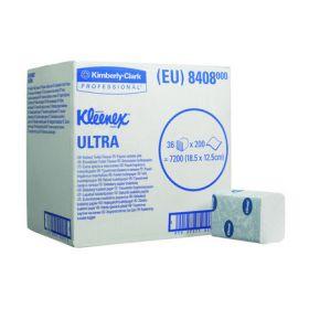 Kleenex Ultra toiletpapier gevouwen, wit, 2-laags,18.6 x 12.5cm