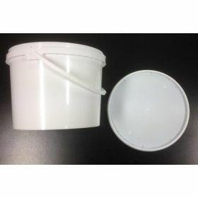 Emmer 3l  wit  PP + deksel + plastic handvat