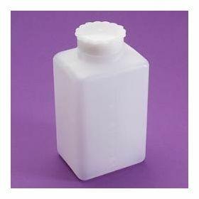 Fles vierkant 100ml  HDPE brede hals, gegradueerd , seal, schroefstop