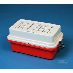 Minicooler 32x0,5>2ml rood PC+deksel z.gel 5u<1°C
