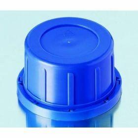 Schroefstop blauw met verzegelring, PP, GL60, voor vierkante glazen flessen met brede hals
