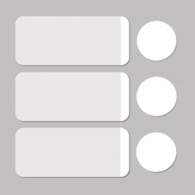 Etiket wit/wit rond D11mm + rechthoekig 33x13mm - 500st