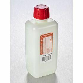 Fles 250ml HDPE rechthoekig met Na-thiosulfaat 20mg/l, steriel/1, shaped seal schroefstop