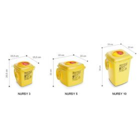 Naaldcontainers AP Medical type Nursy, vierkant, geel/rood