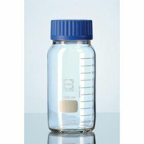Duran® Glazen labofles met brede opening en blauwe PP schroefdop GLS80