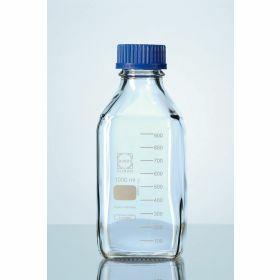 Laboflessen Duran® , vierkant, met blauwe PP schroefstop en uitgietring